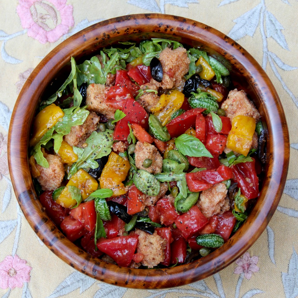 End-of-the-Summer Tomato Bread Salad with Peppers and Black Olives