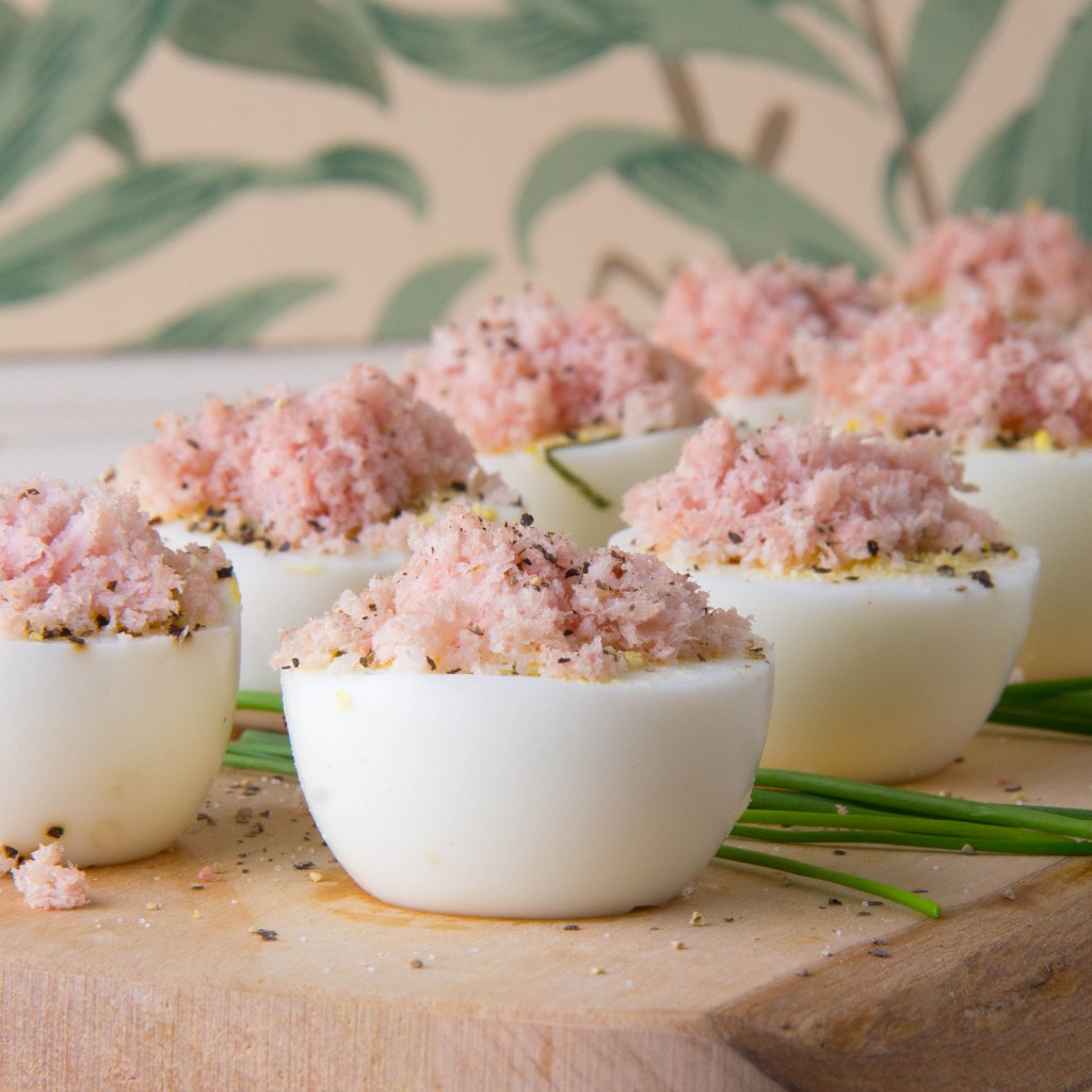 Hard Cooked Eggs with Basil and Fluffy Ham